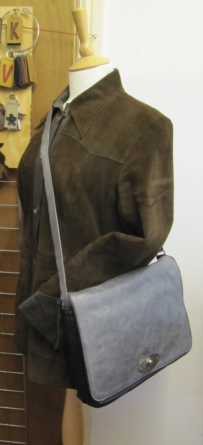 Grey leather and black suede handbag