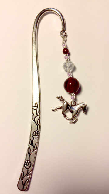 Horse bookmark with pink beads