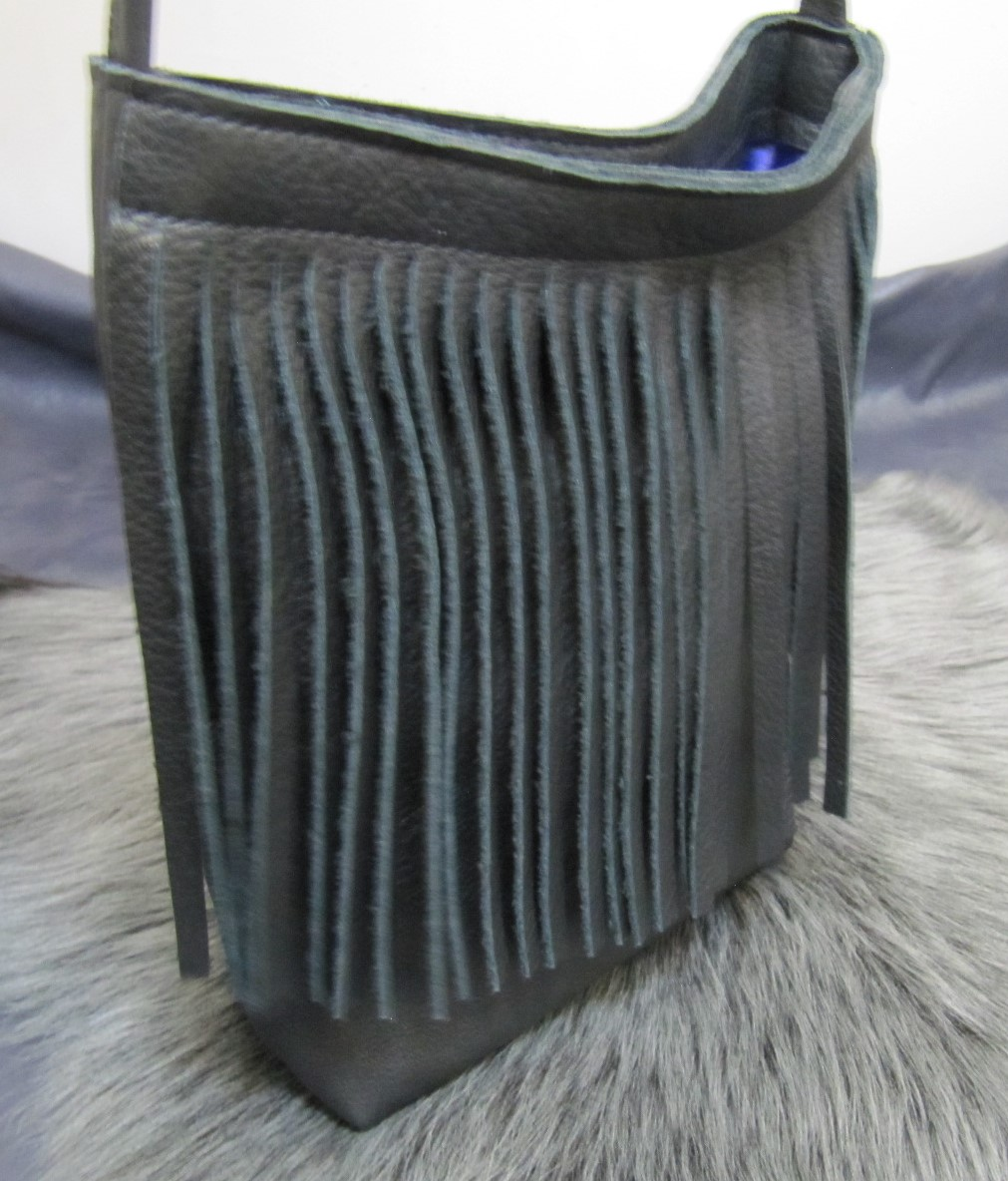 Small fringed black leather bag