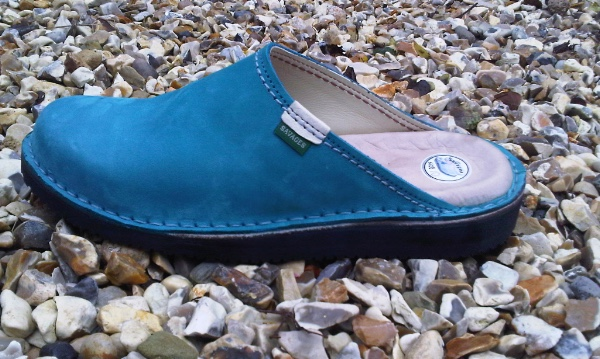 Standard plus Mule in Aqua Blue Nubuck Leather