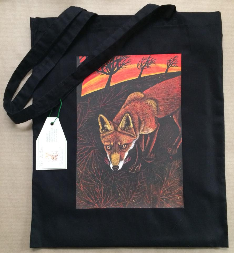 'Country Fox' black cotton bag