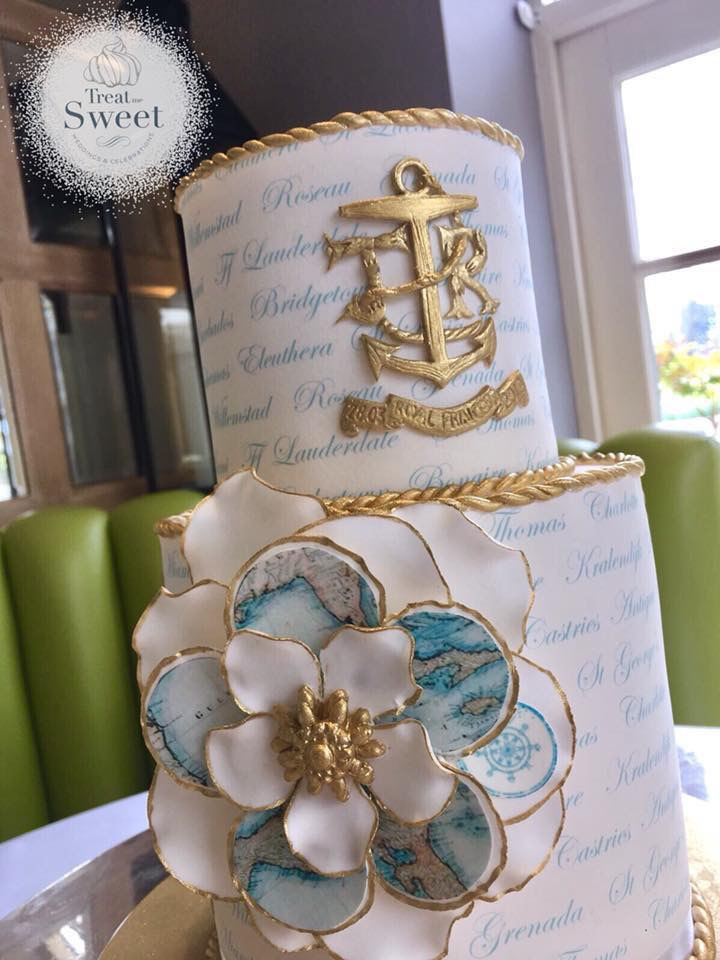 2 Tier nautical wedding cake - Treat me Sweet