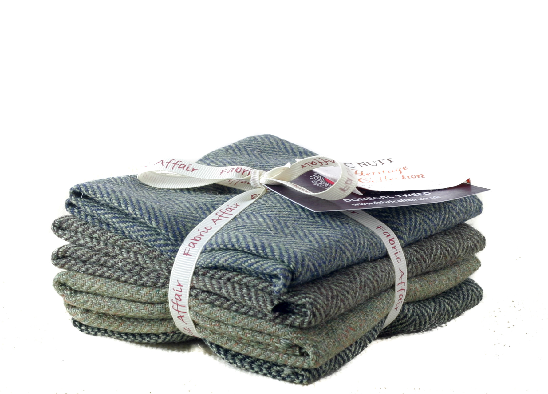 Donegal Tweed by Fabric Affair: Heritage Collection, Herringbone Bundle of 8th's.