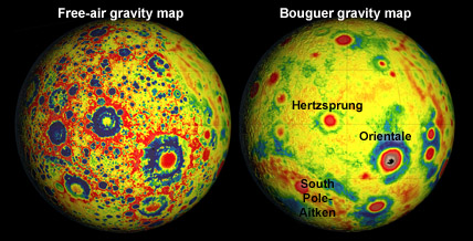 Bouguer gravity map of moon