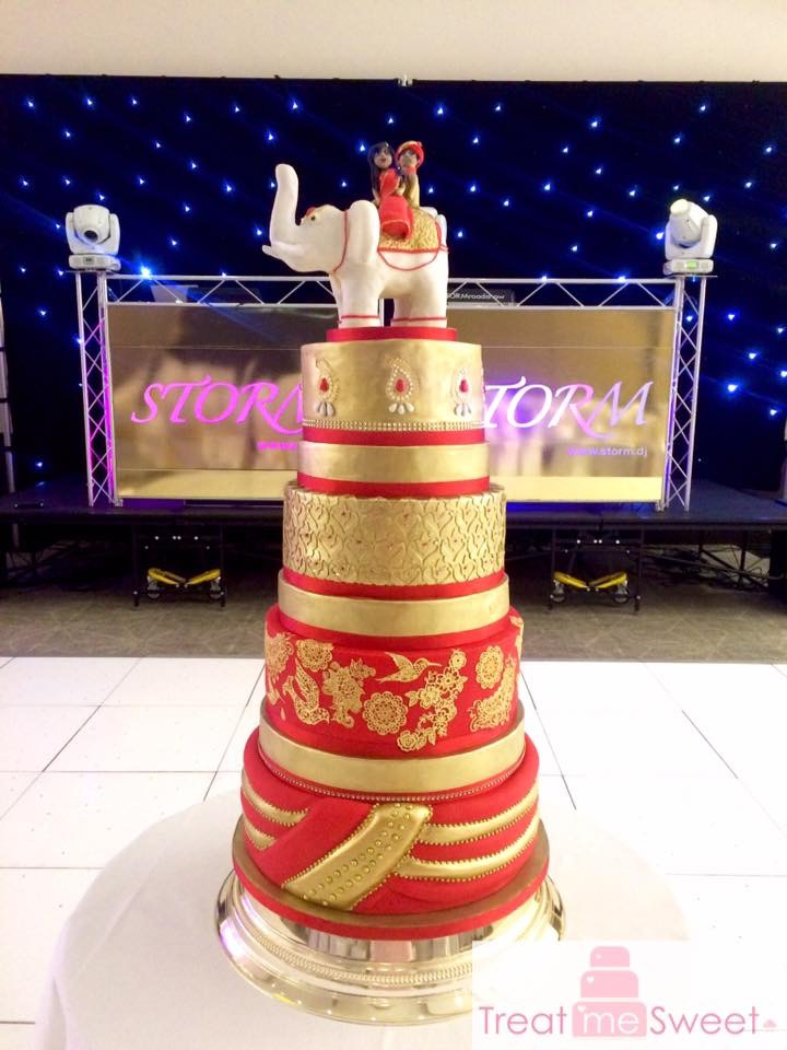 4 Tier Red and Gold Wedding Cake - Treat me Sweet