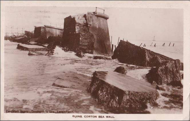 Corton Sea Wall ruins