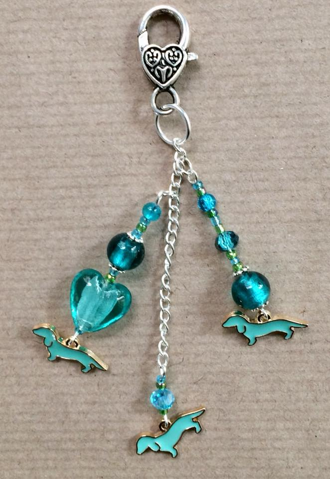 Turquoise sausage dog bag charm with turquoise beads