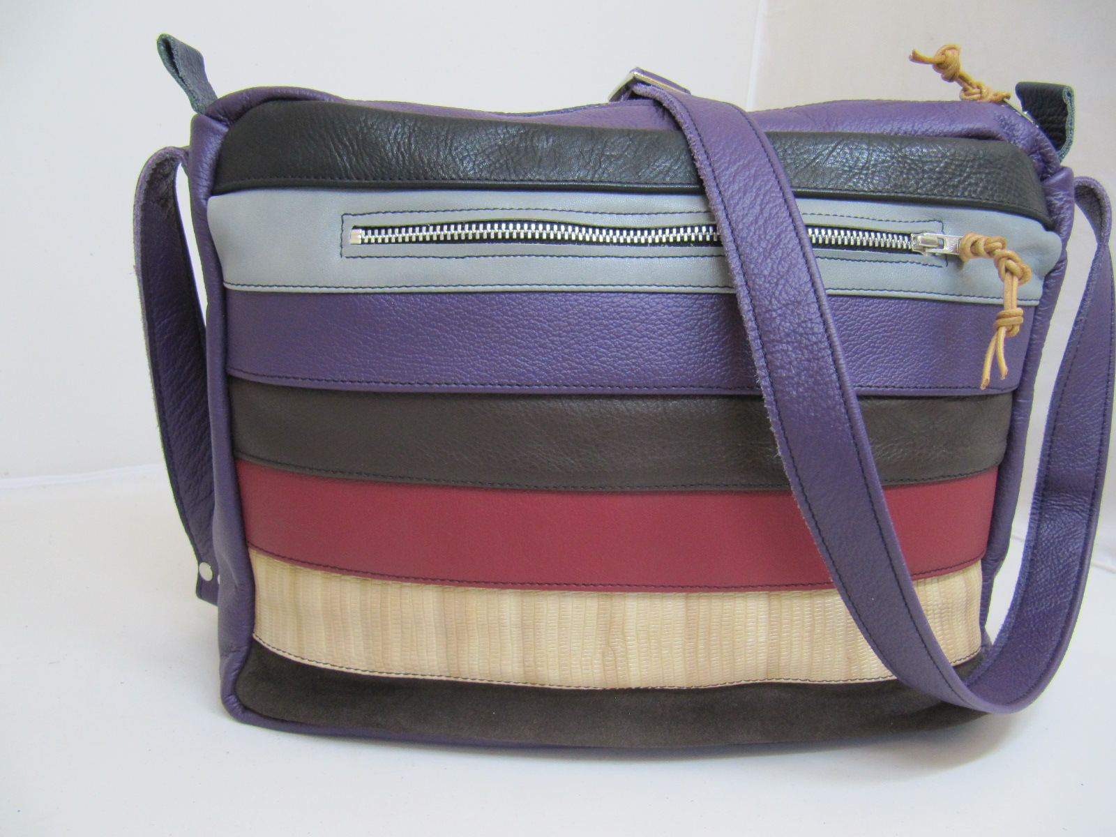 Leather stripe handbag