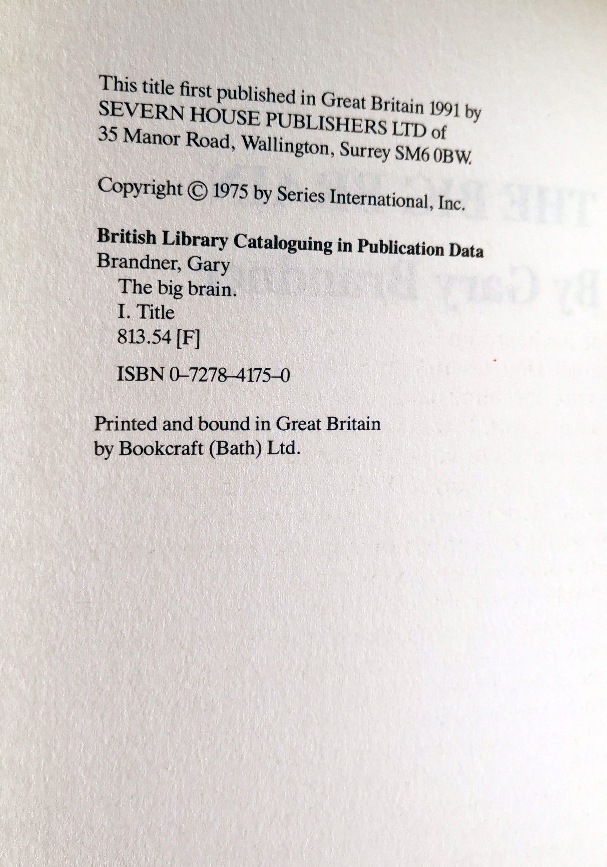 The Big Brain UK First Edition