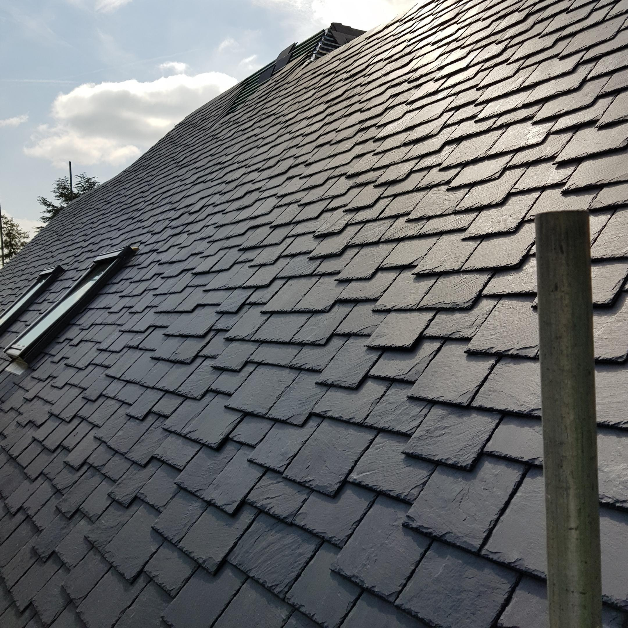 Iconic Slate Ltd, TA Galex, Cabrera Black, random width, random length, Staggered Butt. Bespoke designed roof