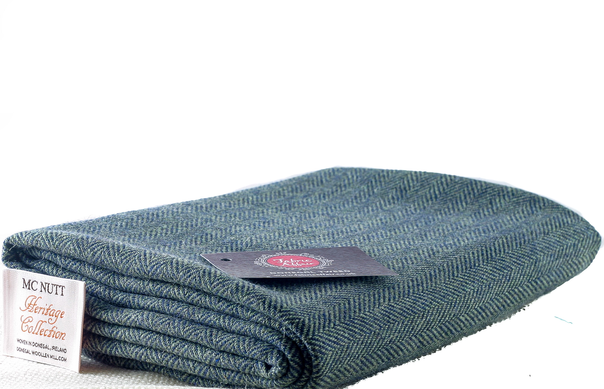 Donegal Tweed by Fabric Affair: Heritage Collection, Herringbone Blue/Pale Green.