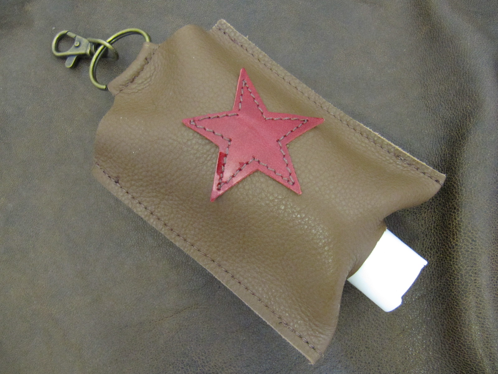Leather Hand Sanitizer Carrier - Brown with Red Star