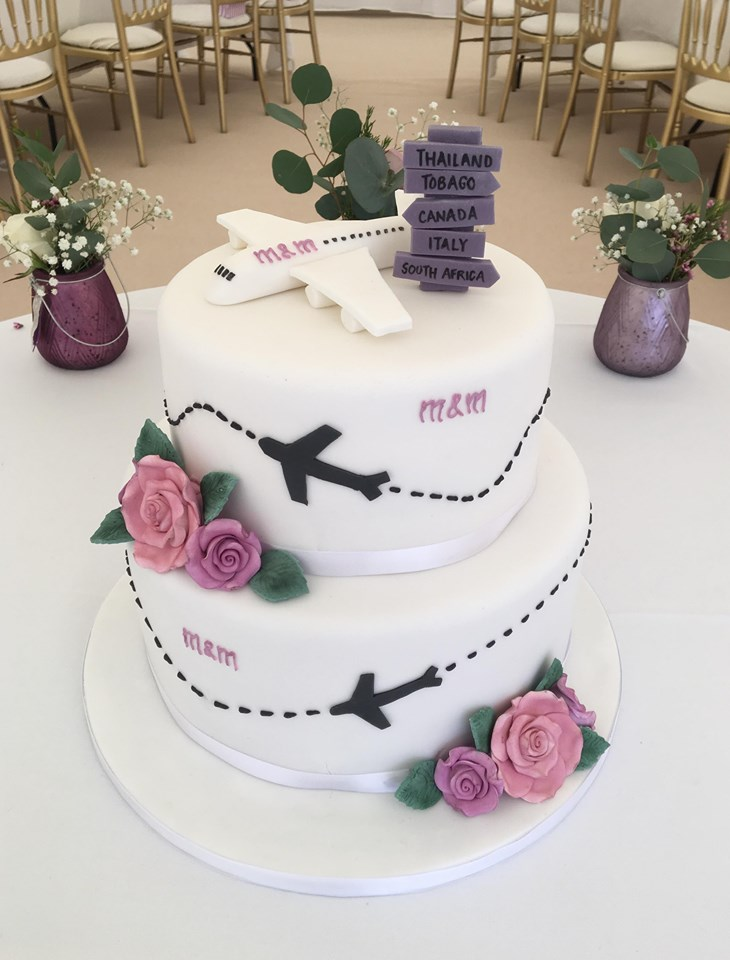 2 Tier Travel Themed Wedding Cake