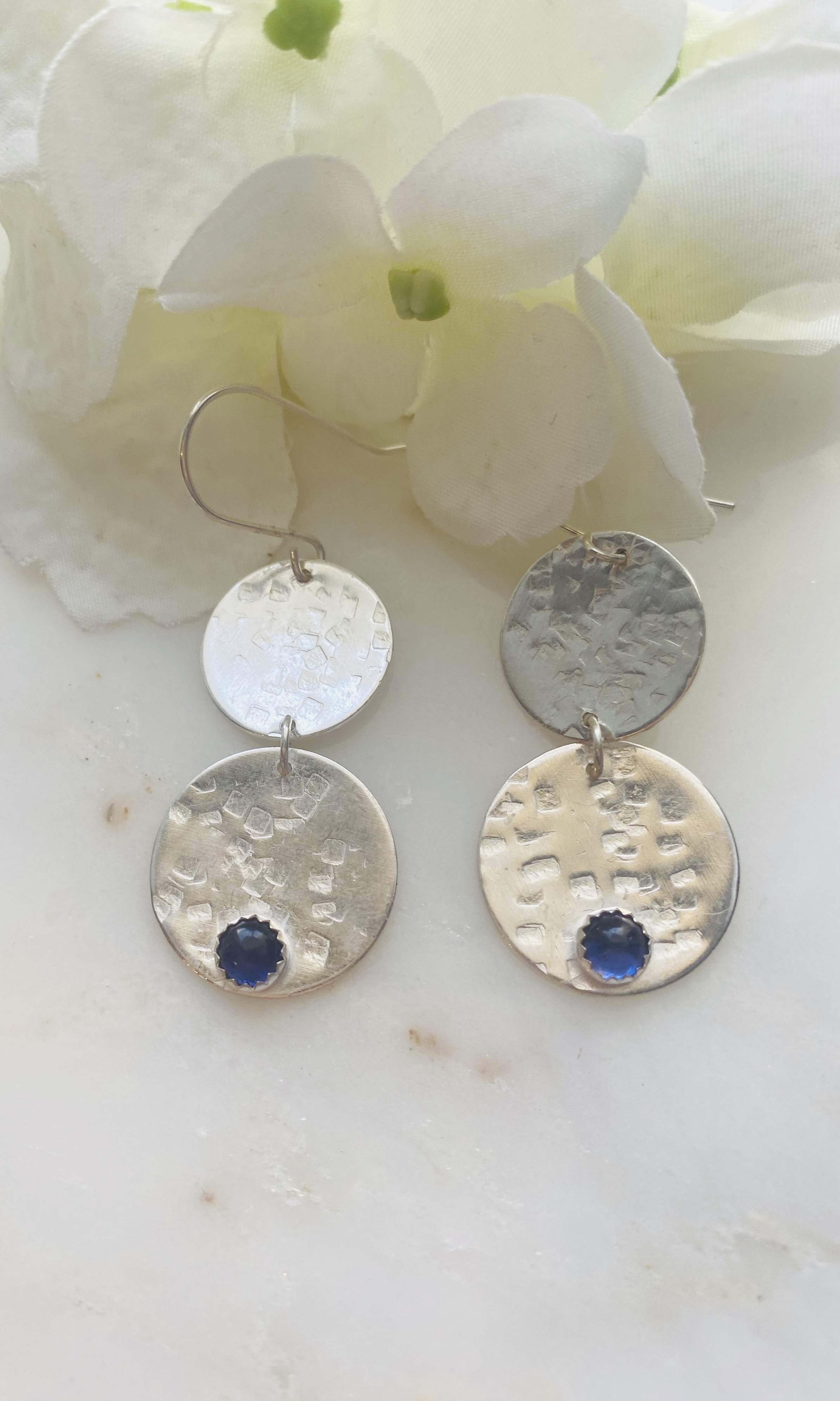 Iolite double circle hammered earrings
