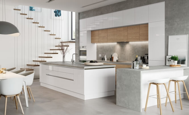Zola Gloss White & Tavola Parched Oak