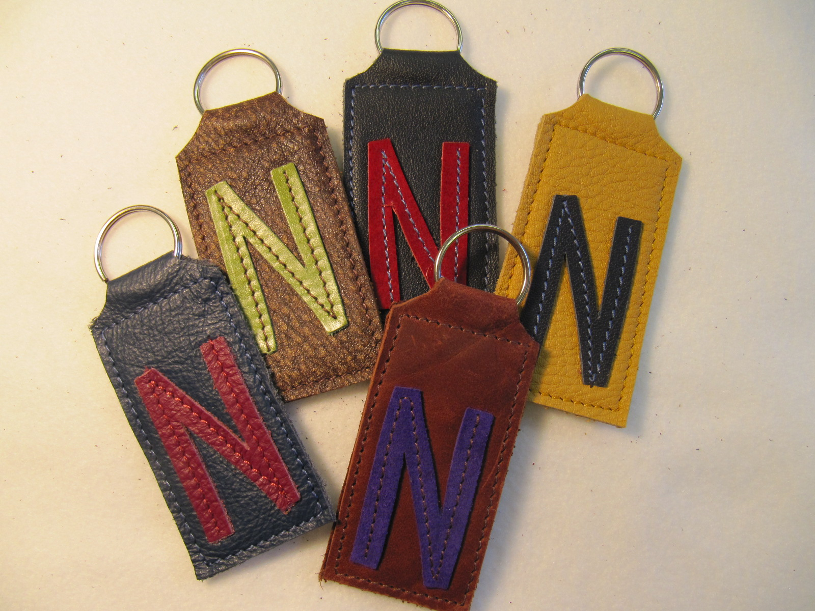 Initial leather key fobs 'N'
