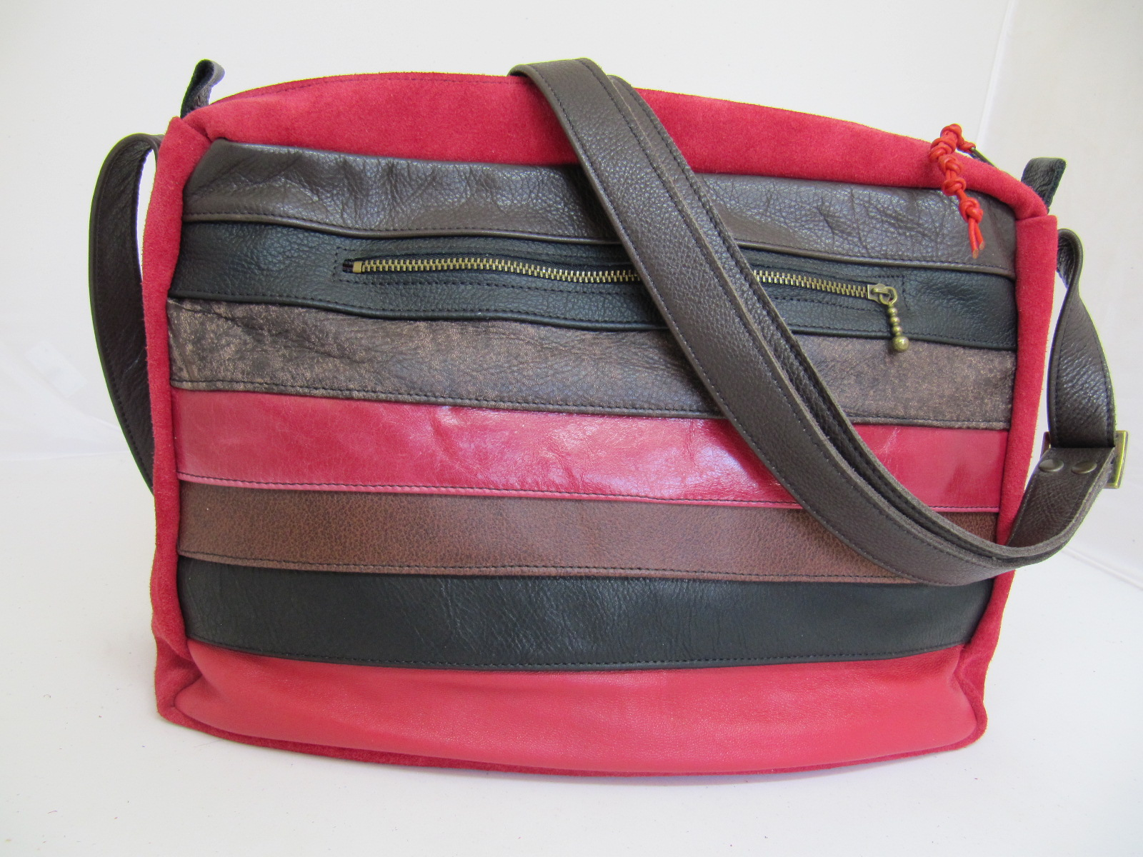 Leather and suede stripe handbag reds
