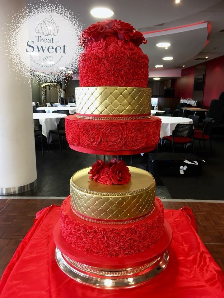 5 tier floral red and gold Wedding Cake with handmade edible roses, ruffles and gold quilting - Treat me Sweet