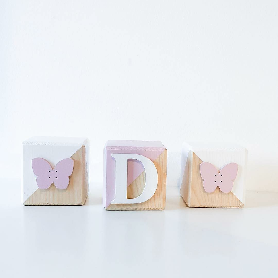 Set of Wooden Cubes - Pink & White