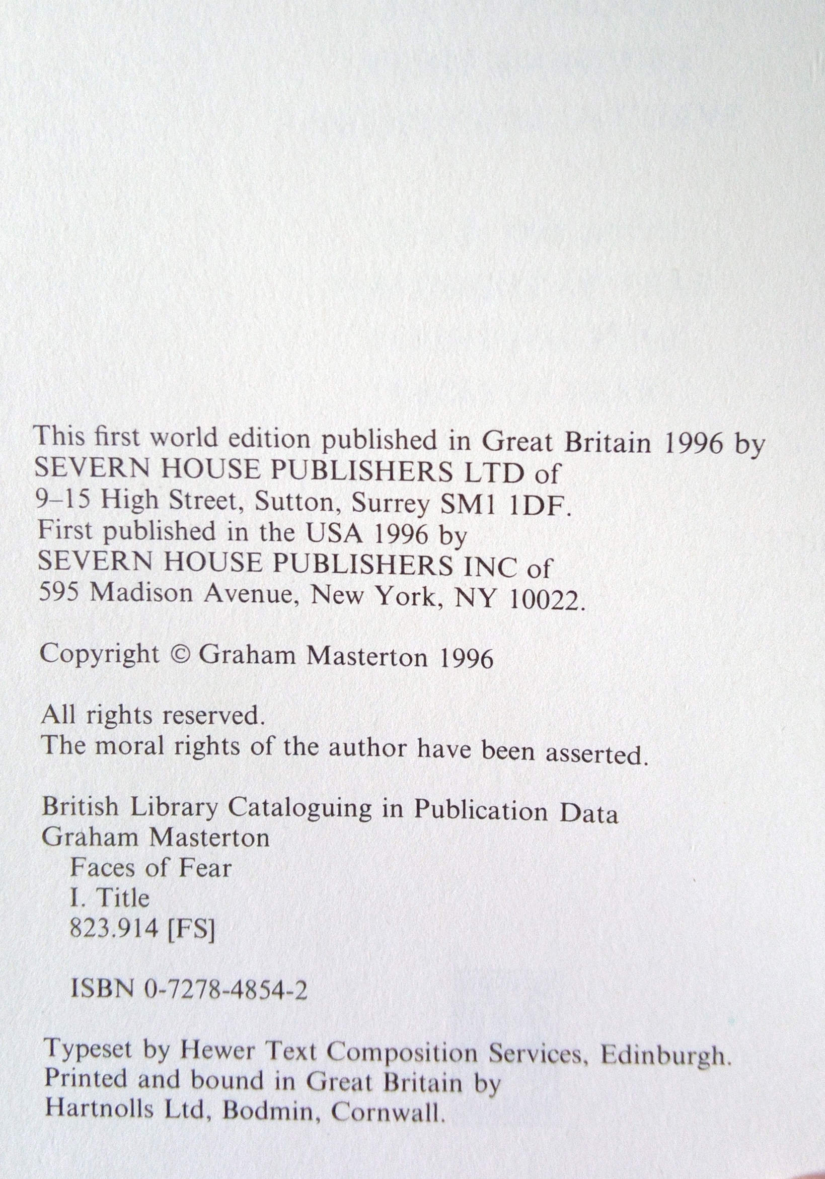 Faces Of Fear UK First Edition