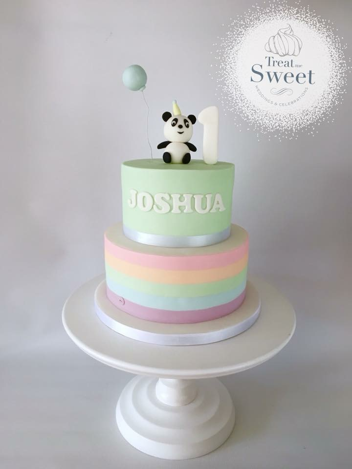 2 Tier 1st Birthday cake with pastel stripes and Edible Panda - Treat me Sweet