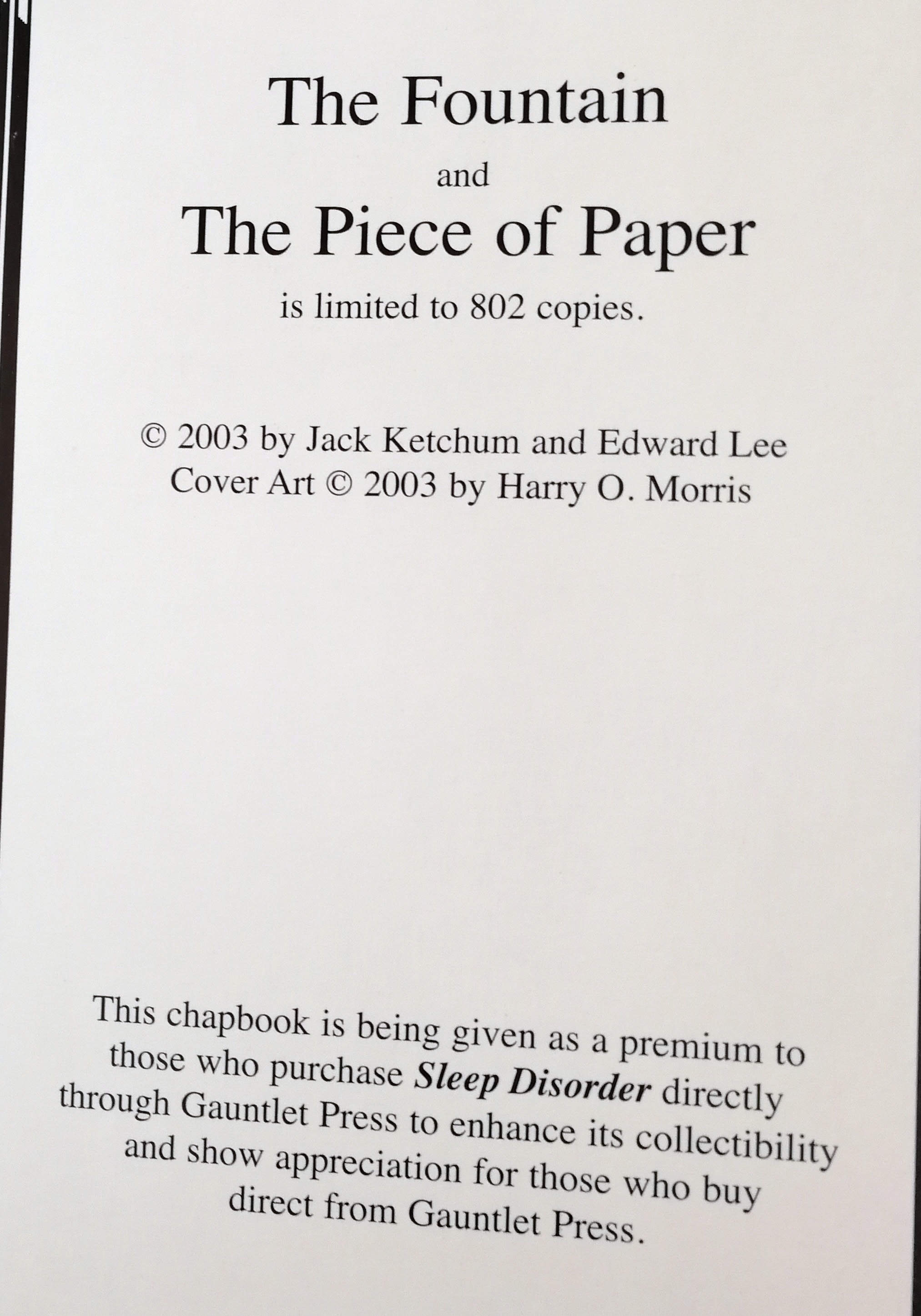 The Fountain / The Piece Of Paper Limited Edition