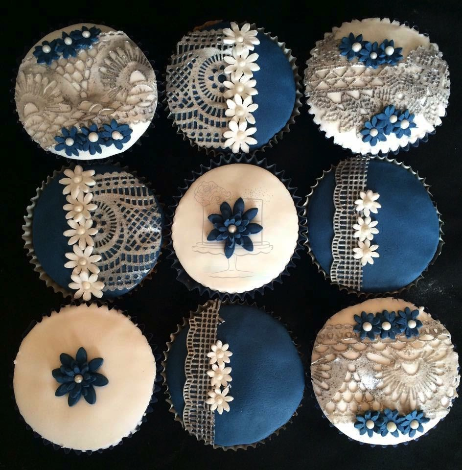 Silver/Navy Lace Cupcakes
