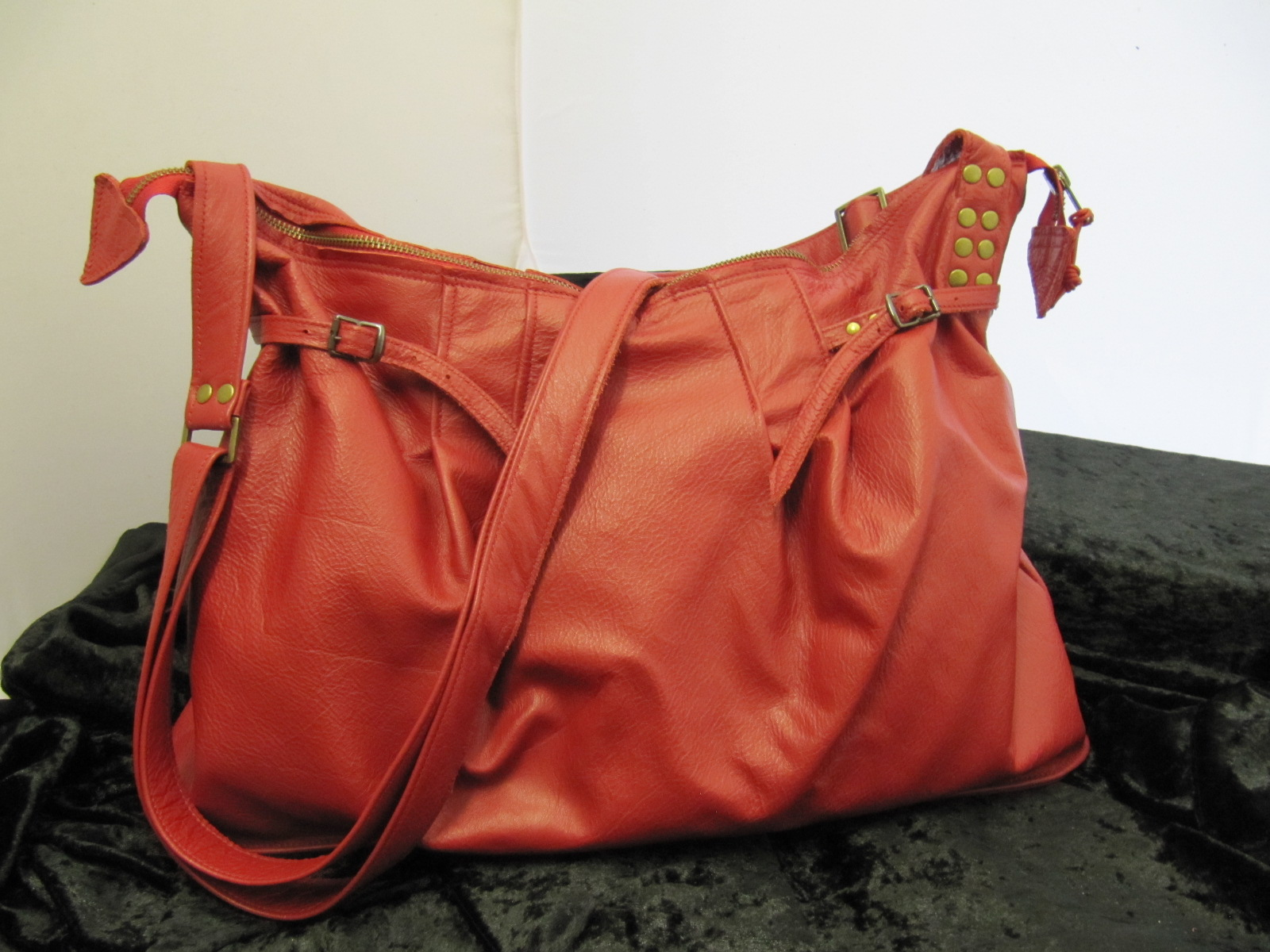 Soft red leather handbag