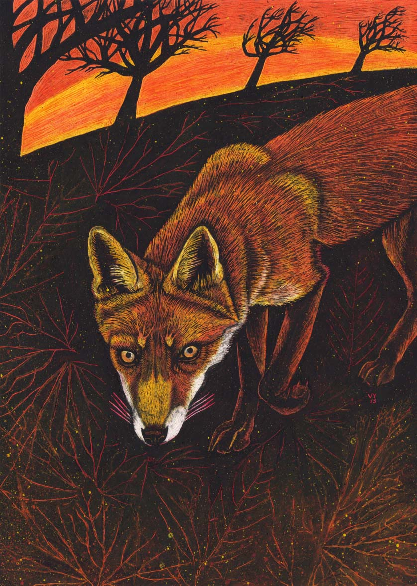 'Country Fox' mounted print