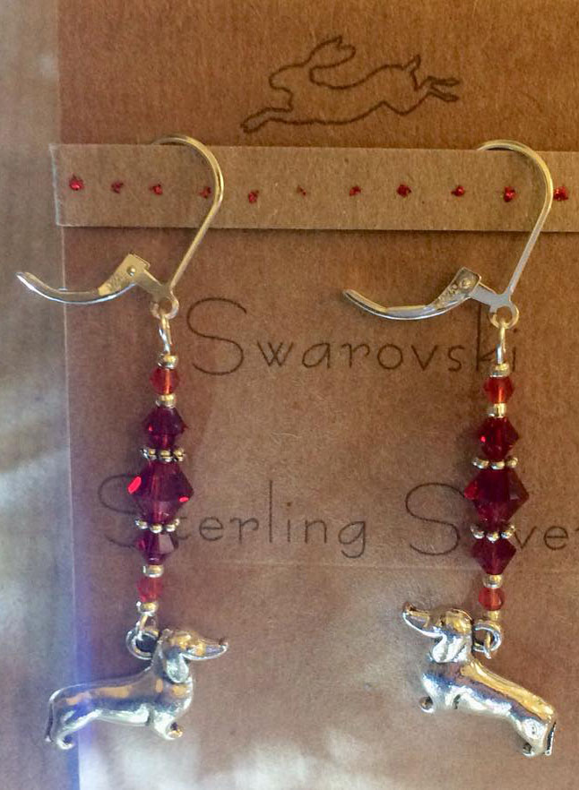 Sausage dog sterling silver and siam red crystal earrings