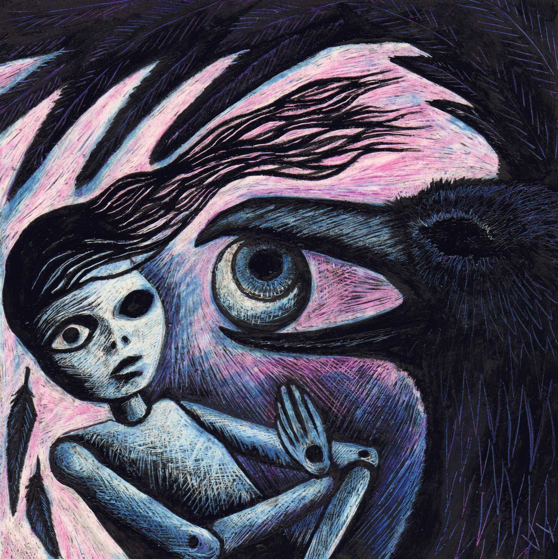 'Crow and Doll' A4 print
