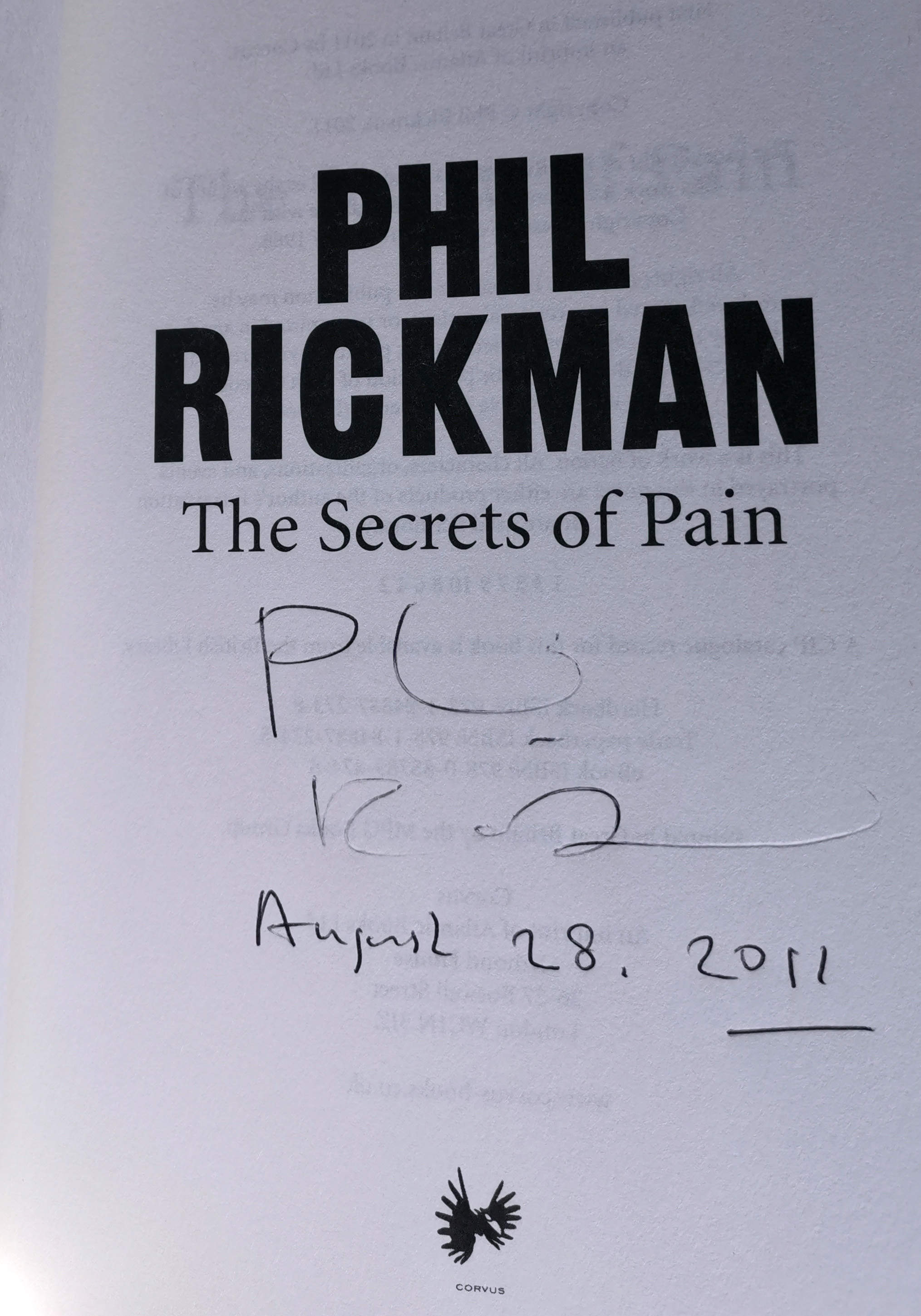 The Secrets Of Pain Signed UK First