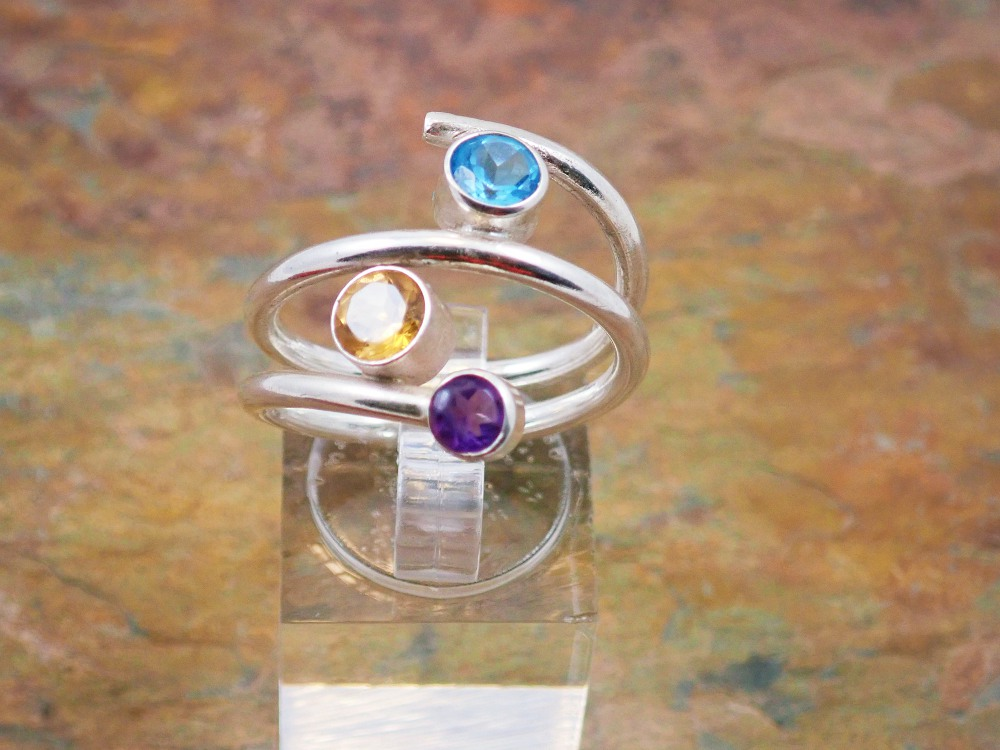 Circle open ended ring with topaz citrine amethyst