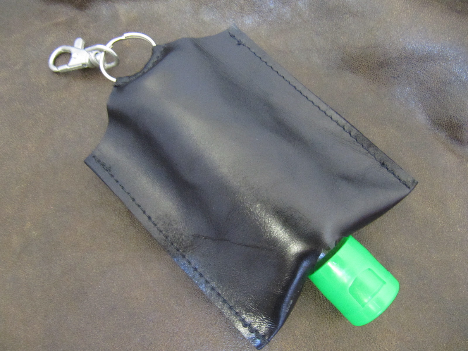 Leather Hand Sanitizer Carrier - plain black