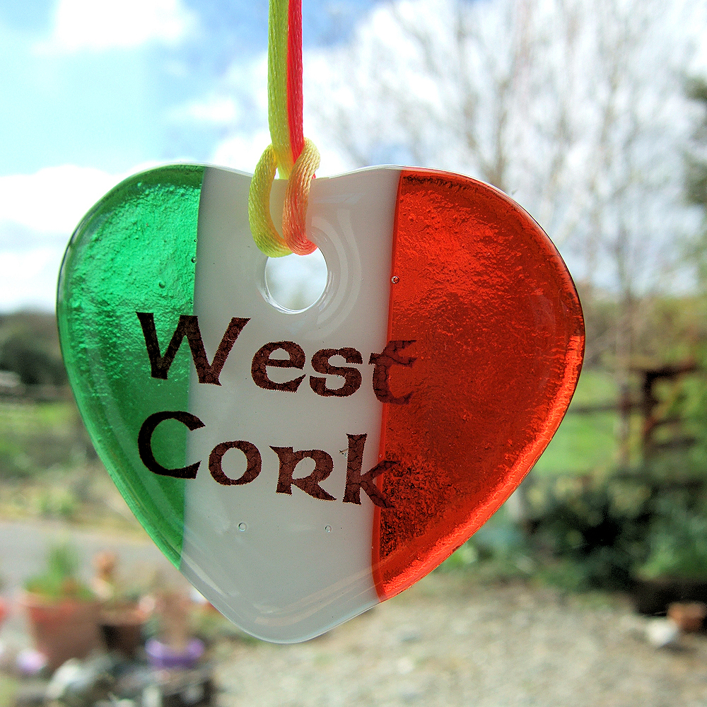 "Fused-glass Tricolour ""West Cork"" heart suncatcher"
