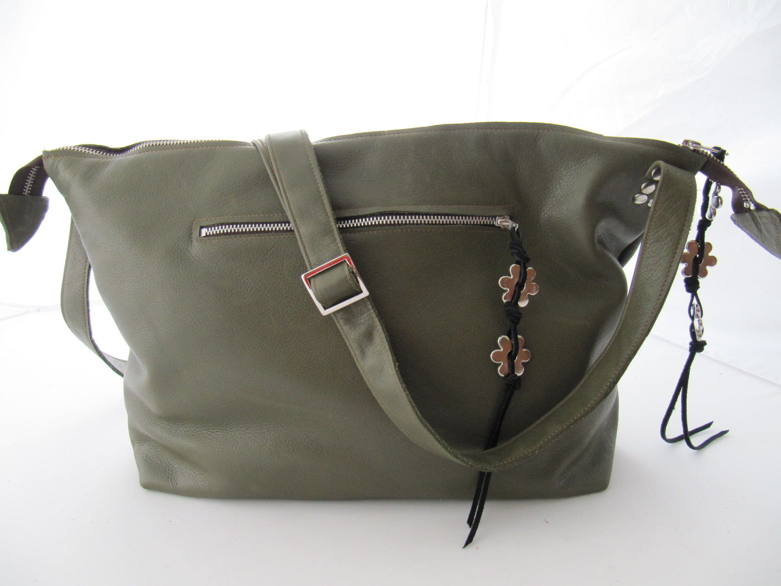 Olive Green soft leather handbag
