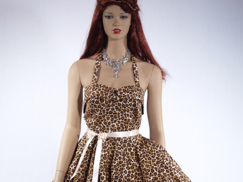 Leopard Print Halter Neck Dress