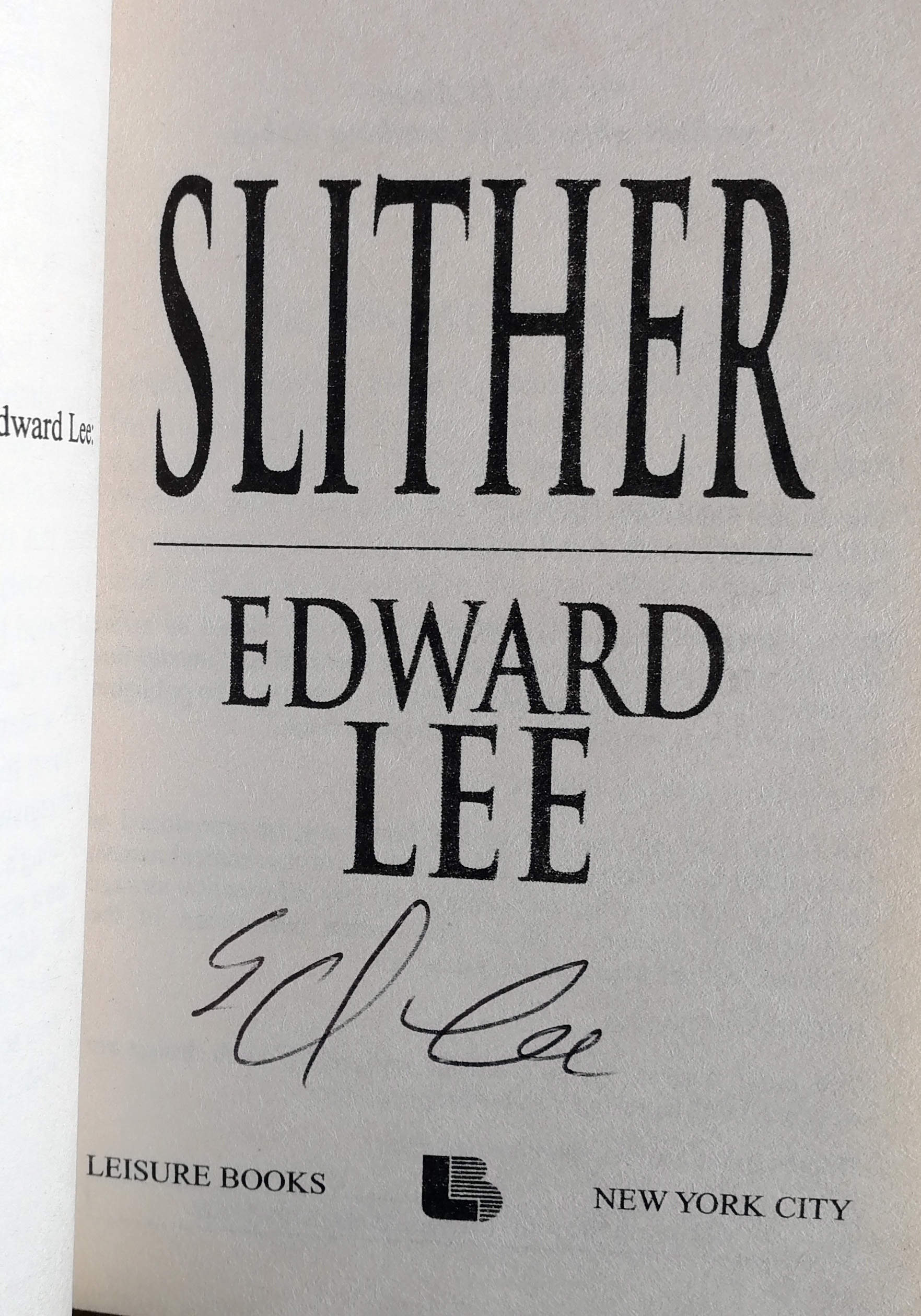 Slither Signed US First PB Edition