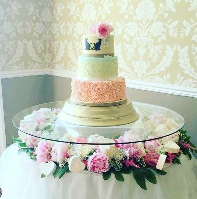 3 Tier Wedding Cake with buttercream piping, cake lace and stenciling - Treat me Sweet