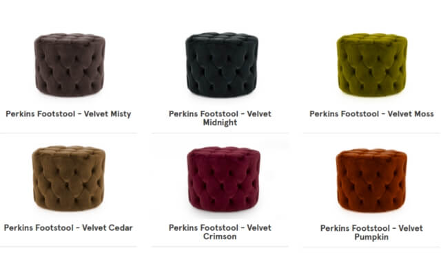 Perkins Velvet Footstools Special Offer, Cedarwood Kitchens, Bedrooms & Home Interiors