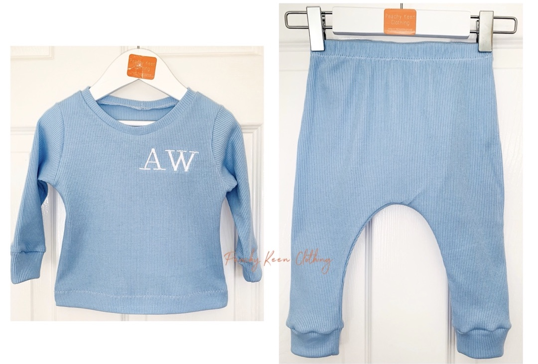 Baby Blue Ribbed Set