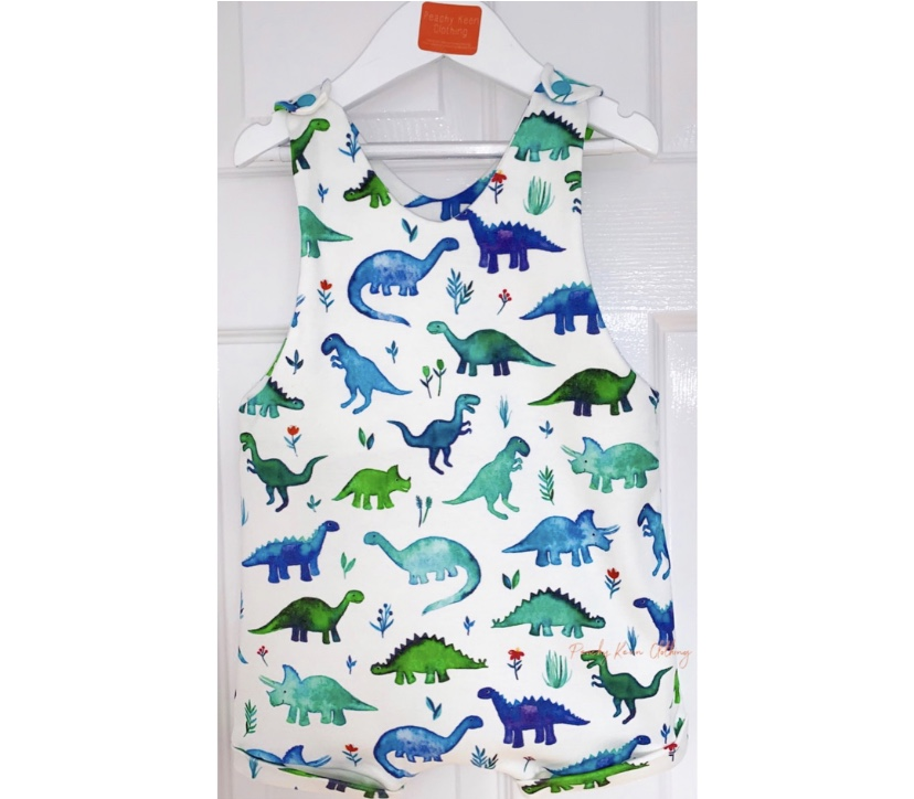 Blue Dino Short Romper