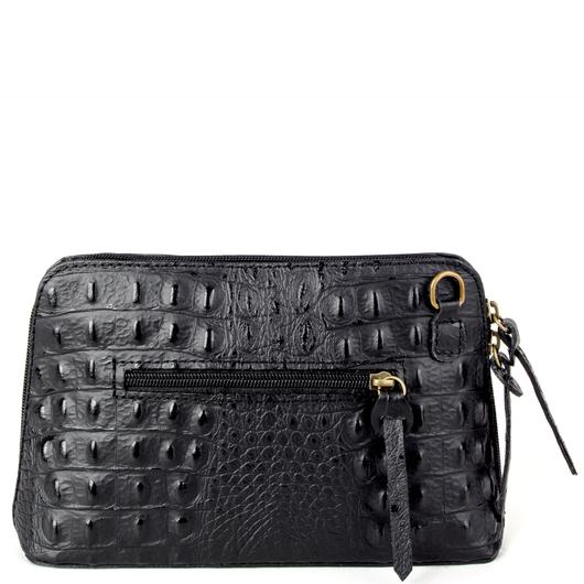 Ely Black Croc Print Real Leather Cross Body Bag