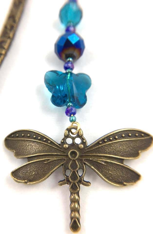 Large dragonfly copper bookmark