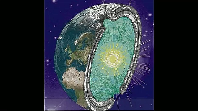 Half round of the Hollow Earth with inner sun