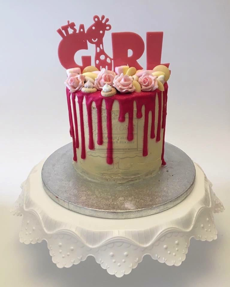 'It's a Girl' Drip Cake
