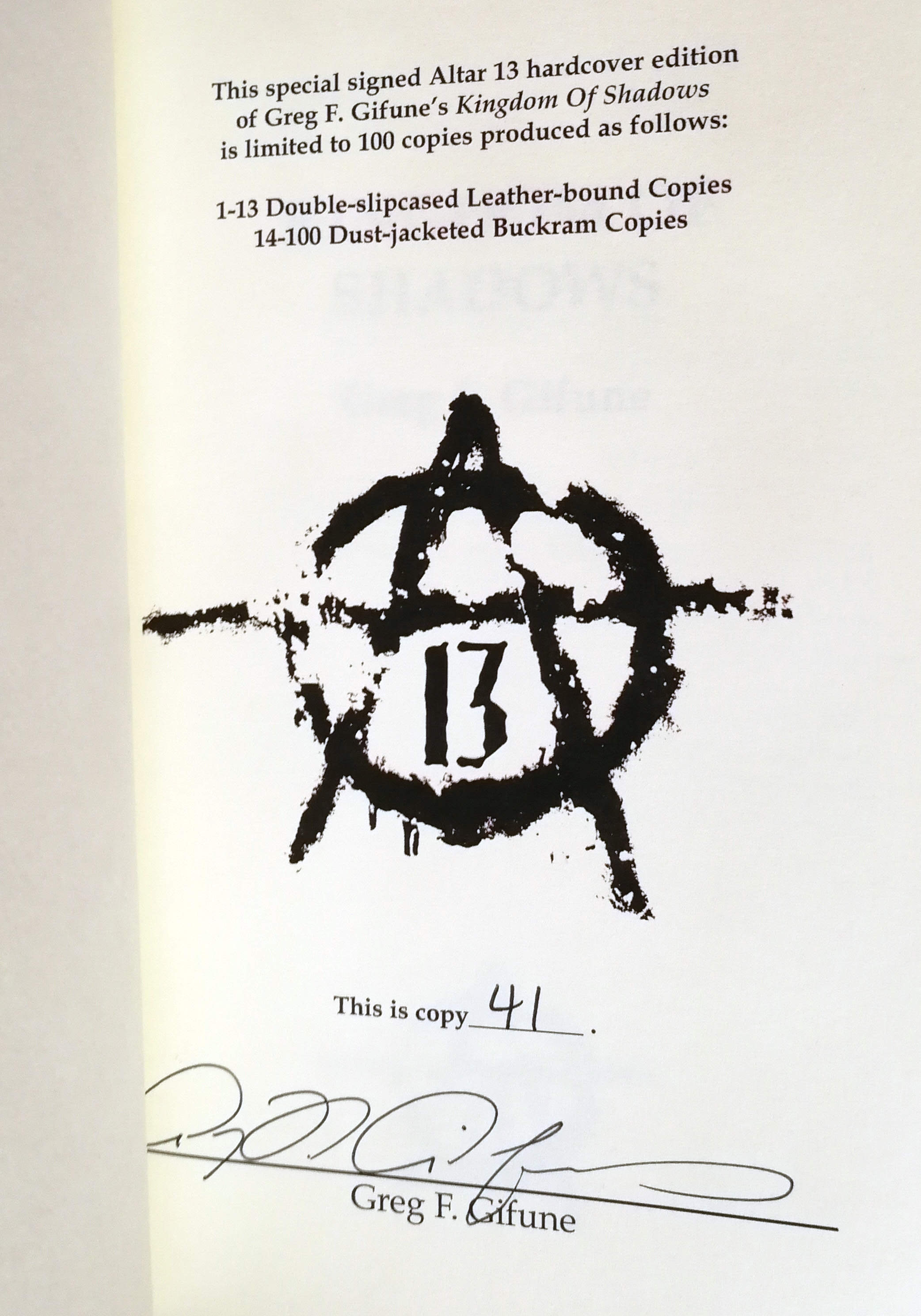 Kingdom Of Shadows Signed Limited Edition