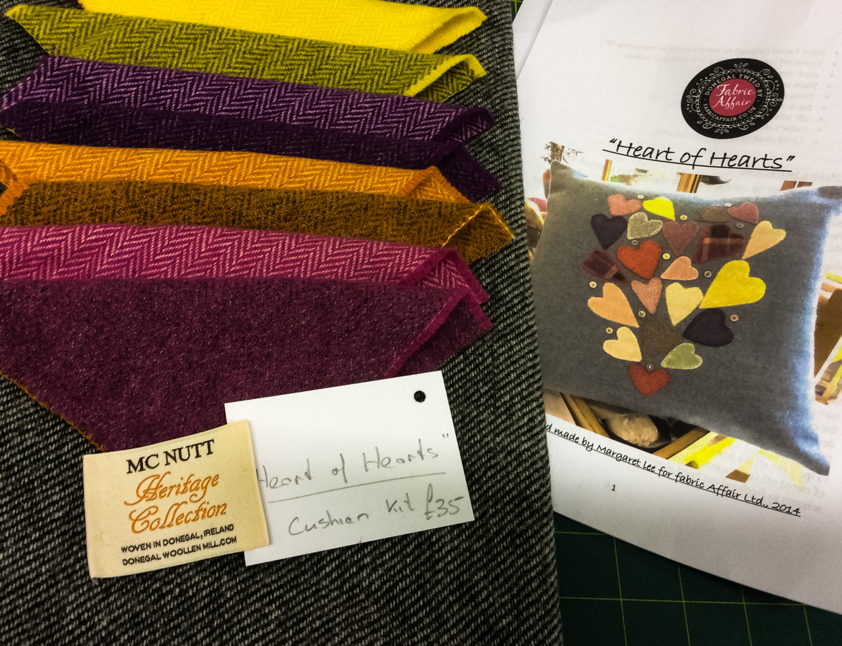 Donegal Tweed by Fabric Affair: Heart of Hearts Cushion Kit.