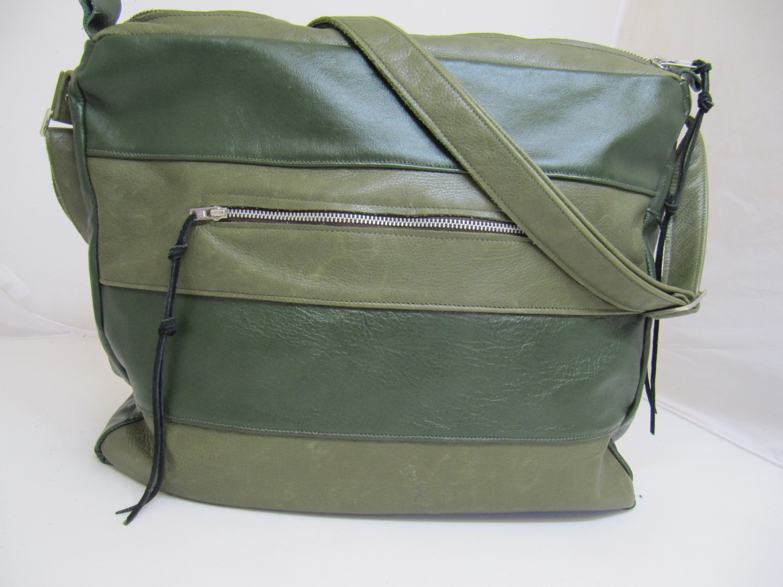 Two tone soft green leather panel handbag
