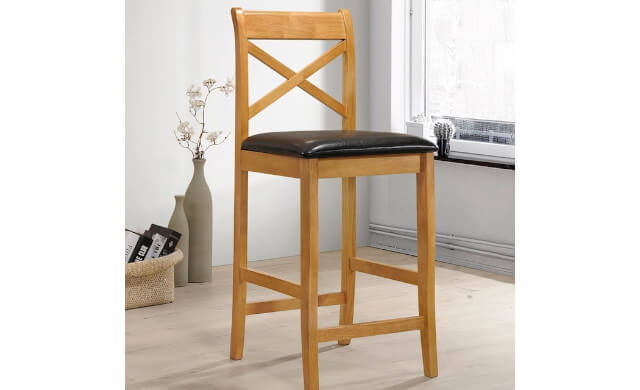 Clermont Oak & Padded Seat Stool